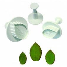 3 Veined Rose Leaf Plunger Cutters